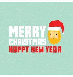 Happy new year hipster santa postcard vector image vector image