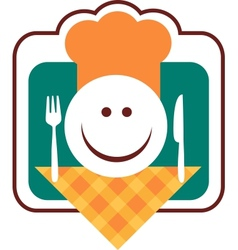 happy smiley chef face vector image vector image