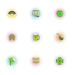 Holiday saint patrick day icons set pop-art style vector