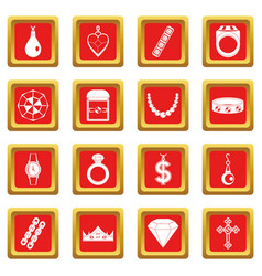 Jewelry items icons set red vector