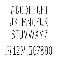 Latin alphabet grunge line decorative font vector