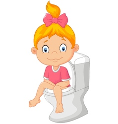 Little girl sitting on the toilet vector