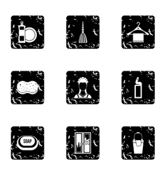 Maid works icons set grunge style vector