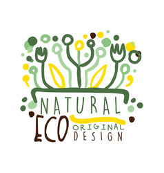 natural eco label logo graphic template healthy vector image vector image