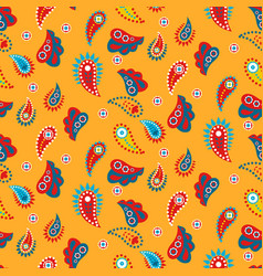 Paisley yellow indian seamless pattern vector