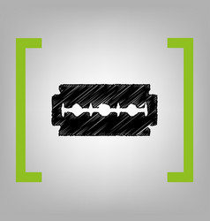 Razor blade sign black scribble icon in vector