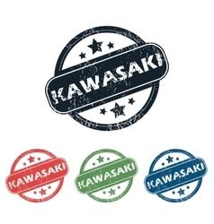 Round kawasaki city stamp set vector