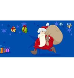 Santa with sack greeting card vector