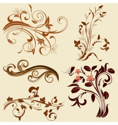 set of abstract floral patterns vector image vector image
