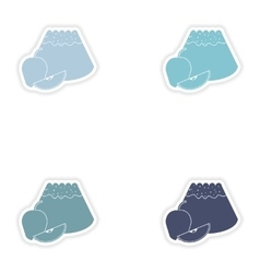 Set of paper stickers on white background apple vector