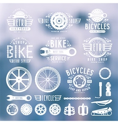 Set of vintage bike shop labels color vector
