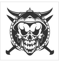 Skull and cross swords vector