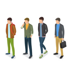 Stylish men models in fashionable apparels jackets vector