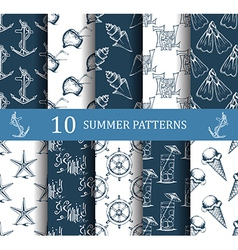 summer seamless pattern set vector image