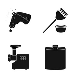 the head of a horse a brush and other web icon in vector image vector image