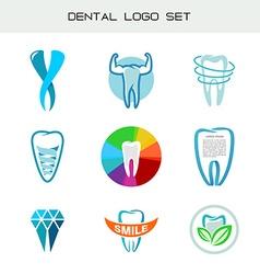 Tooth logo set dental medical healthcare symbols vector