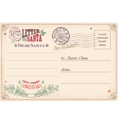 Vintage letter to Santa Claus postcard vector image vector image