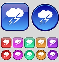 Weather icon sign a set of twelve vintage buttons vector