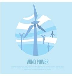 Wind power banner renewable resources concept vector