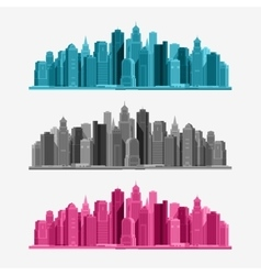 City icons set vector