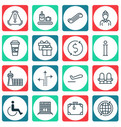 Set of 16 travel icons includes hostess siren vector