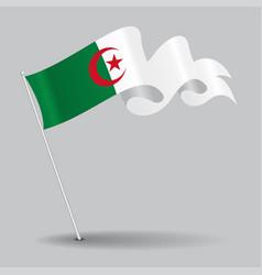 algerian pin wavy flag vector image