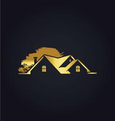 House gold tree garden logo vector