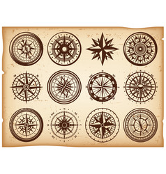 Vintage nautical compasses icons set vector