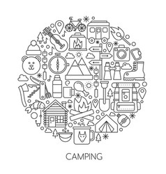 Camping hiking tools and equipment infographic in vector
