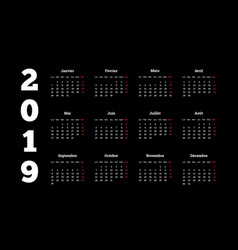 2019 year simple white calendar on french language vector