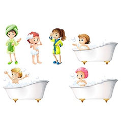 Kids taking a bath vector