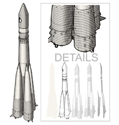 Space rocket at engraving style vector