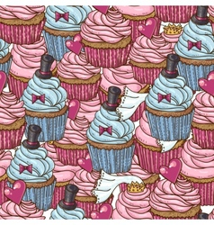 Seamless background with cupcakes vector