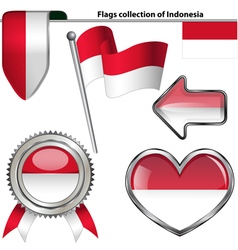 Glossy icons with indonesia flag vector