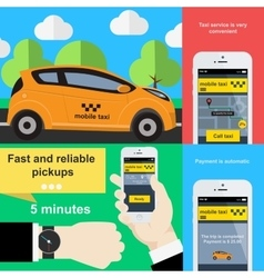 Mobile phone application to book taxi service vector