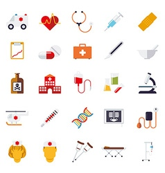 Medical and health care flat design icons vector
