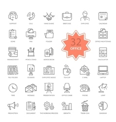 Set of office items icons vector