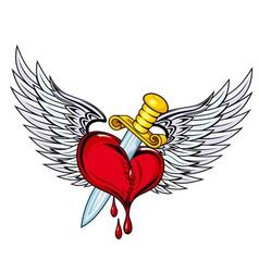 Heart with sword vector