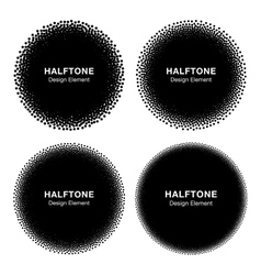 Set of abstract halftone dots circles vector