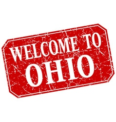 Welcome to ohio red square grunge stamp vector