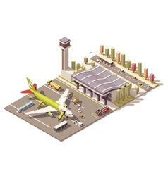 Isometric low poly airport terminal vector