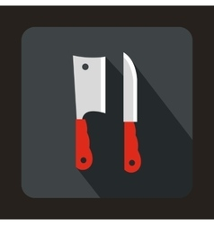 Kitchen knife and meat knife icon flat style vector