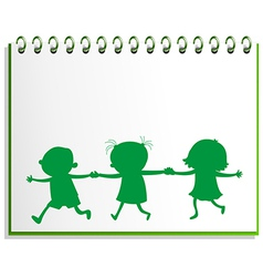 A notebook with a drawing of three kids vector image