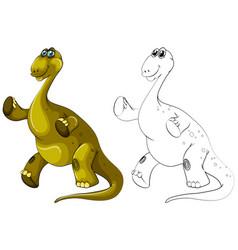 animal outline for brachiosaurus dinosaur vector image vector image