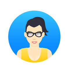 Avatar icon girl in glasses in flat style vector