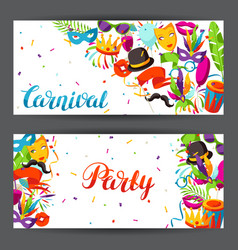 carnival party banners with celebration icons vector image vector image