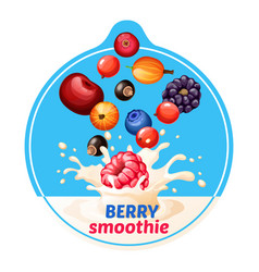 cartoon berry smoothie sticker vector image