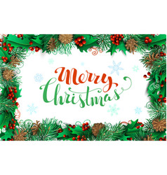 christmas horizontal frame of branches with pine vector image