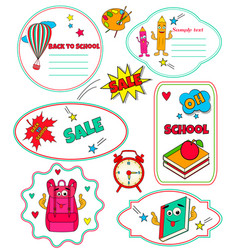 collection of funny tags back to school vector image vector image