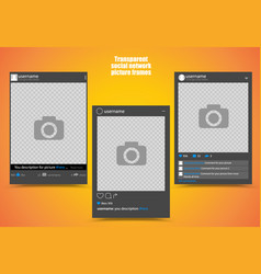 Dark photo frame for social network picture with vector